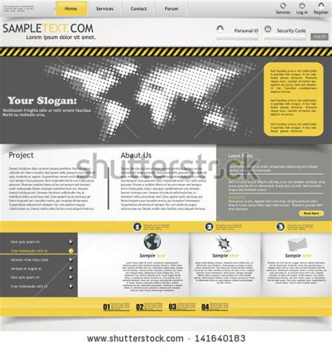 Yellow And Grey Website Template Stock Vector Illustration 141640183 Shutterstock Yellow Pages Website Template Free