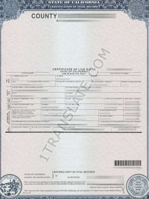 American Birth Records Translate American Us Birth Certificate California From