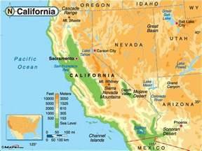 geography map of california california elevation map nevada garden