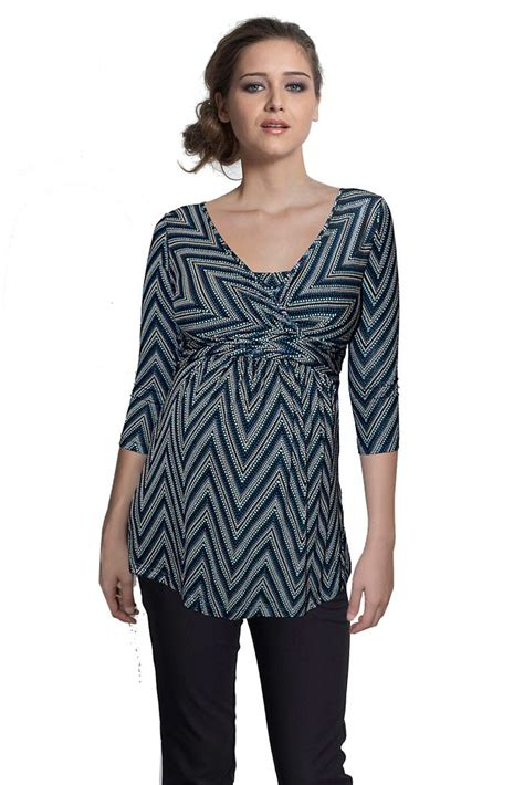 Sleeve Dotted Panel Top 3 4 sleeve wrap maternity nursing top in dotted