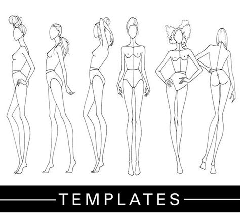 fashion sketchbook with templates plantillas de figurines cedidas por la fashion finishing