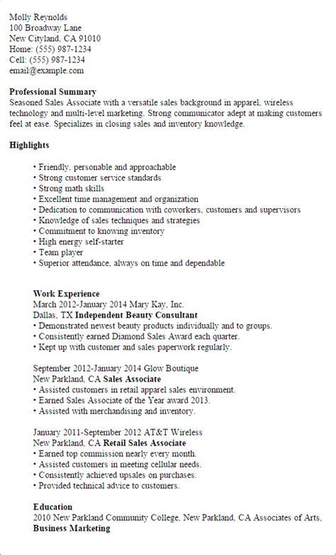 Resume Sles U Of T Professional Sales Associate Templates To Showcase Your Talent Myperfectresume