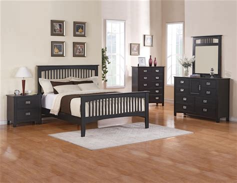 Mission 6 Piece Bedroom Suite In Black Finish By Crown Black Bedroom Suite