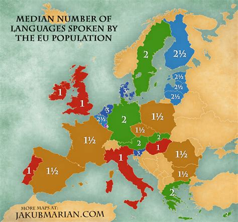 10 countries where is spoken average number of languages spoken by the eu population