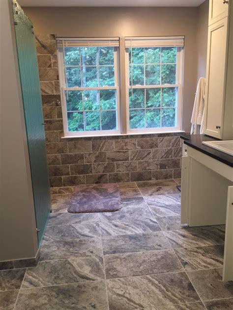 wheelchair accessible bathroom  custom vanity  marazzi archaeology crystal river tile