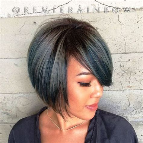 silver hair jaw length layered bobs side bangs and bobs on pinterest