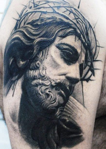 jesus tattoo artist amazing black gray portrait of jesus in a crown of thorns