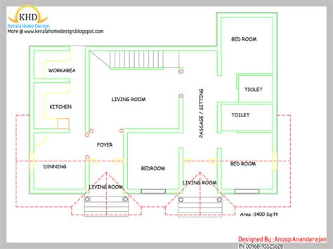 floor plan house single floor house plan and elevation 1400 sq ft kerala home design and floor plans