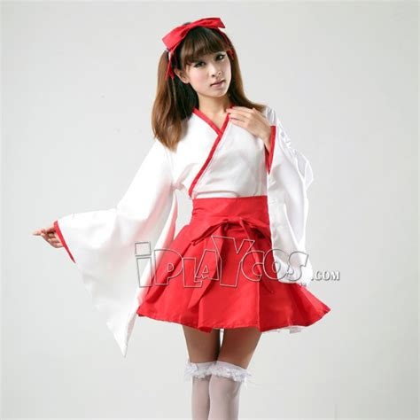 kimono apron pattern japanese temple miss miko maid cosplay costume witch
