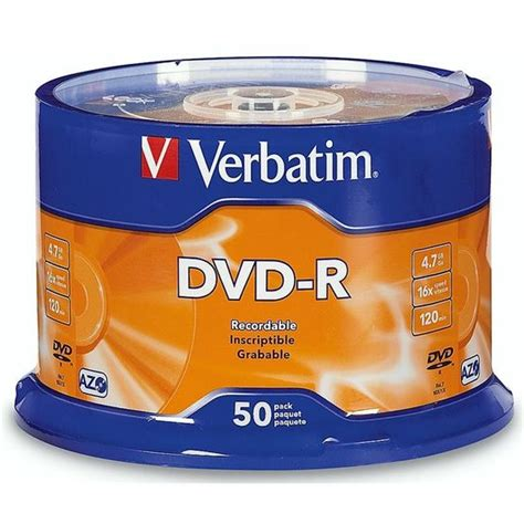 Dvd Verbatim Tb 50 verbatim dvd r 4 7gb 16x 50 pack 95101 drugs