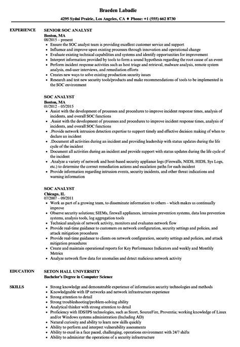 Soc Analyst 3 Resume Sle Soc Analyst Resume Sles Velvet