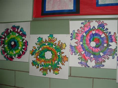 defusing paper snowman snowflakes 6th grade art projects