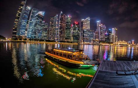 wallpaper river boat building marina singapore night