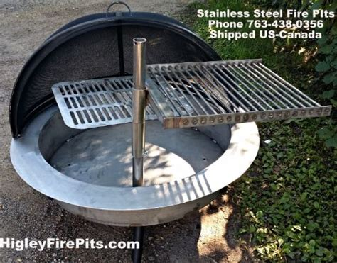 stainless steel fire pit grills higley firepits