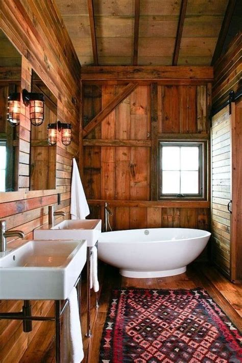 cabin bathroom love not rustic not interested pinterest