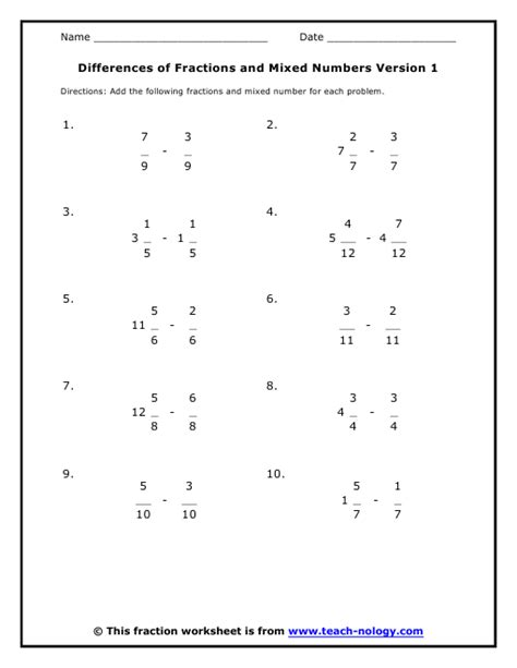 Mixed Fractions Worksheets by Subtraction Of Mixed Numbers Worksheet Theintelligenceband