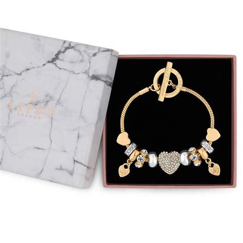 lipsy gold pave crystal heart charm bracelet jewellery