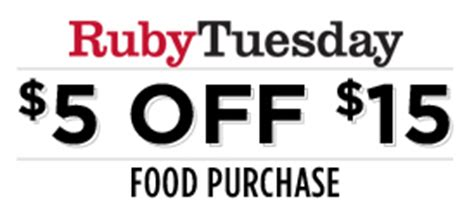 Ruby Tuesday Hawaii Gift Card - ruby tuesday 5 off 15 food purchase coupon