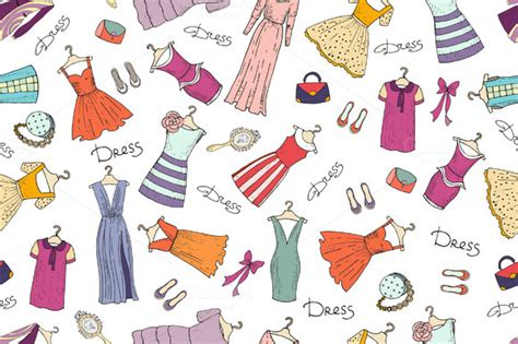 clothes pattern market pattern with fashionable dresses patterns on creative market