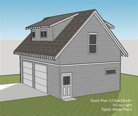 2 story garage plans g126a 1 1 2 story two car garage with apartment