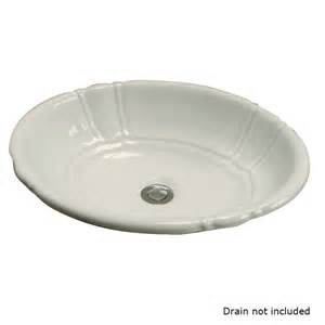 shop barclay bisque drop in oval bathroom sink with