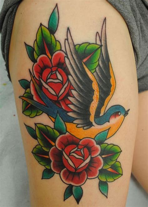 swallow and roses tattoo roses search ideas