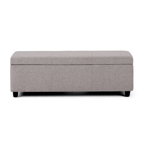 grey ottoman bench simpli home avalon cloud grey large storage ottoman bench