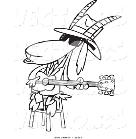 blues music coloring pages vector of a cartoon blues goat musician playing a guitar