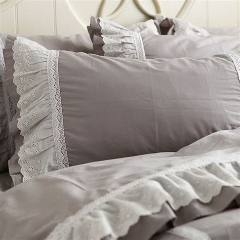 grey ruffle bedding lace bedding set