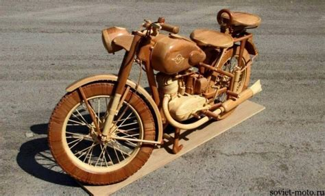 hand carved wood motorcycle upcycle art