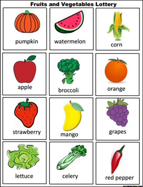 vegetables y frutas en ingles fruits and vegetables lottery loter 237 a de frutas y