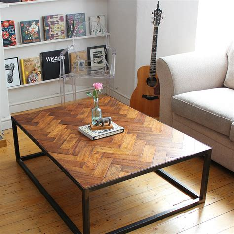 Floor Table by Large Upcycled Parquet Floor Coffee Table By Ruby Rhino