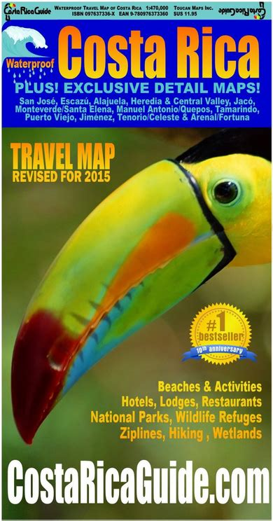waterproof travel map of costa rica books toucan waterproof travel map costa rica covershot 100