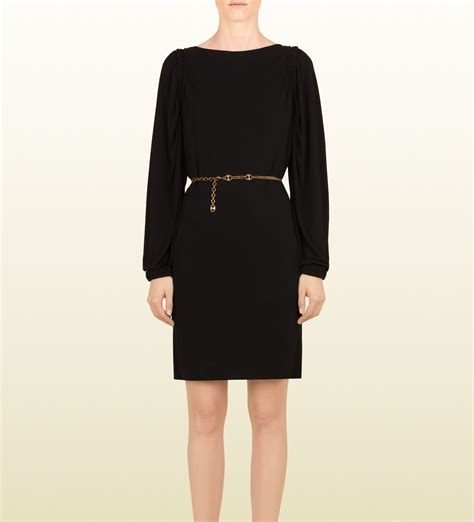 gucci viscose jersey dress with black leather leather belt