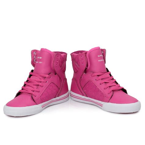 best kid shoes supra junior skytop pink hi top shoes trainers size