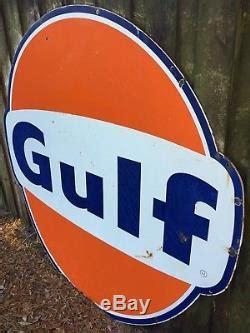 vintage original ft porcelain gulf sign large gas station