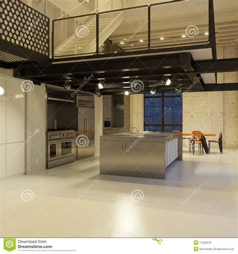 Modern Loft Kitchen At Night Stock Illustration   Image