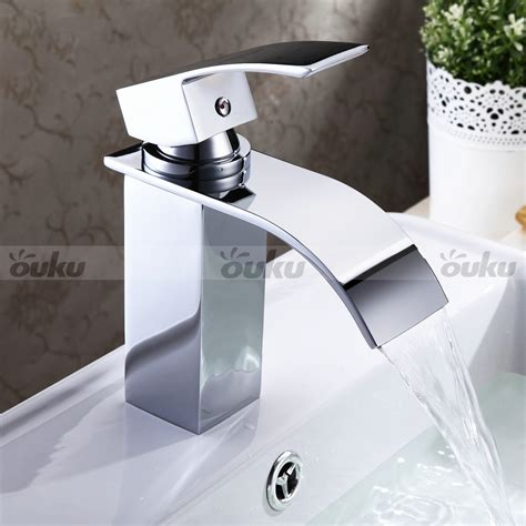 waterfall bathroom sink faucet new wide water spout bathroom tap sink bath tub waterfall faucet chrome finish ebay