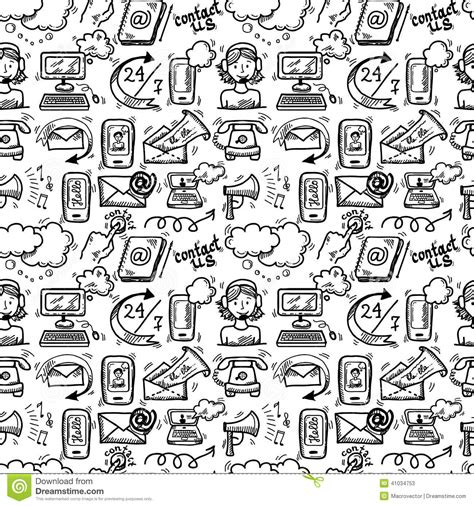 Contact Us Icons Sketch Stock Vector Image Of Doodle
