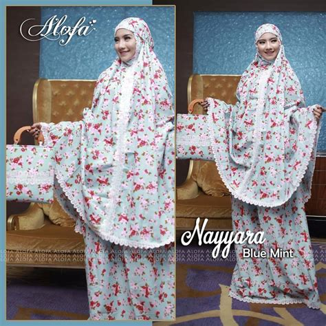 Mukena Hello Blue Renda Mukena Nayyara By Alofa Blue Mint