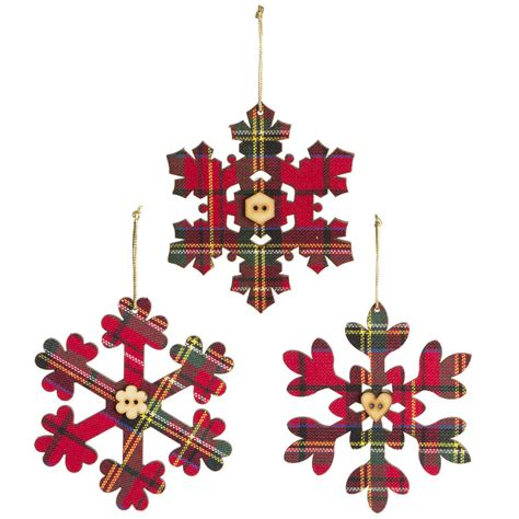 Marvelous Christmas Reindeer Decorations #2: Original_tartan-snowflake-christmas-tree-decoration.jpg