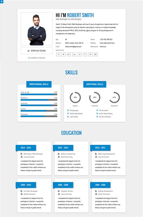 Resume Website Template by 18 Best Html Resume Templates For Awesome Personal