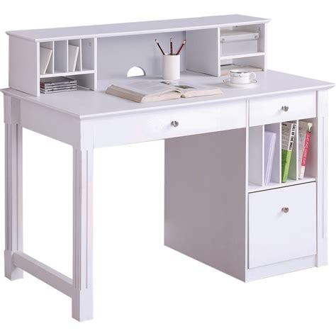 White Kid Desk Walker Edison Dw48d30 Dhwh Deluxe Wood Desk W Hutch In White