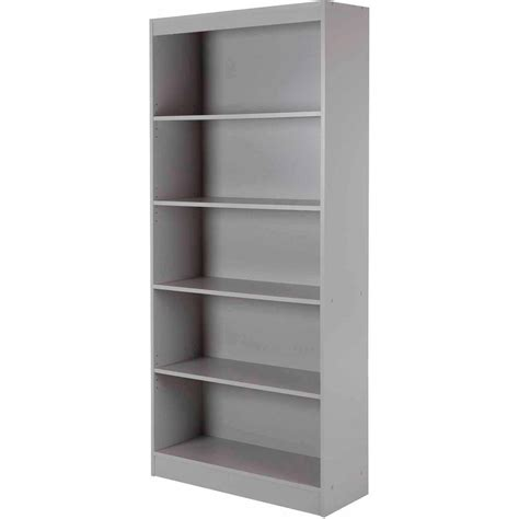 5 Shelf Bookcase Black White Gray Brown Storage Bookshelf White Shelves