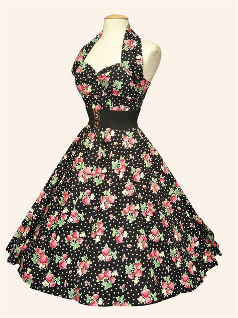 1950s halterneck strawberry dot black dress from vivien of holloway