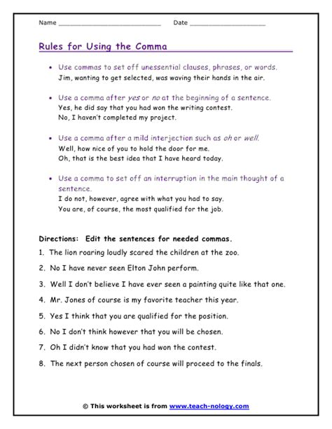 Commas Worksheet by Comma Worksheet Lesupercoin Printables Worksheets