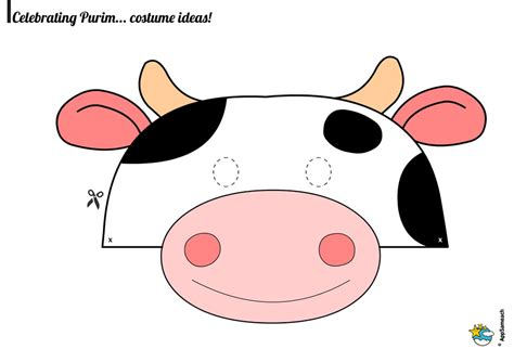 Printable Mask Cow | printable cow face mask pictures to pin on pinterest