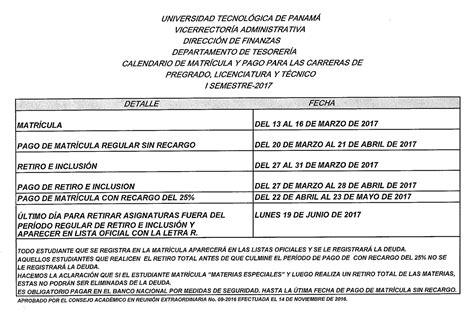 calendario de inscripciones para el segundo semestre calendario de pago del primer semestre de pago 2016