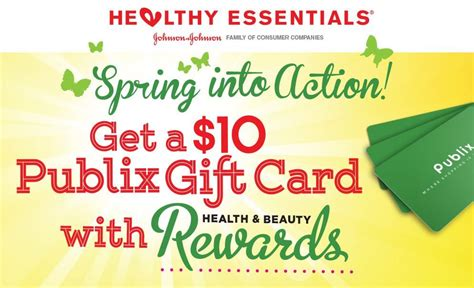 What Gift Cards Are Sold At Publix - free 10 publix gift card with johnson johnson healthy beauty rewards valid till 4