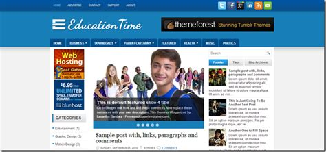 education time blogger template download customization